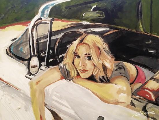 """""""Девушка в автомобиле"""", художник: Роберт Буссе"""